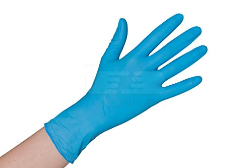 Nitrilhandschuhe puderfrei blau 100 Stück Größe S - XL Einmalhandschuhe Nitril Einweg- Handschuhe ohne Latex (Gr. XL, Blau)