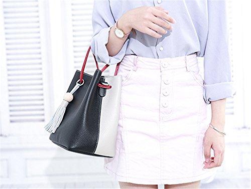 Xinmaoyuan Damen Handtaschen Leder Handtaschen Messenger Umhängetasche Sommer Hit First Class Rindsleder Farbe Wild Quaste Einfache Damen Bucket Bag, Grün Schwarz
