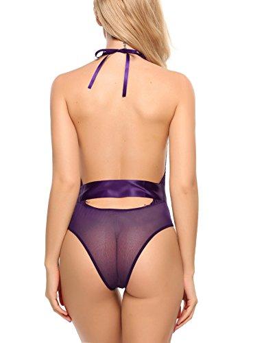Avidlove Damen Spitze One-Piece Rückenfrei Neckholder Patchwork Tiefer V-Ausschnitt Nachtwäsche Body A Violett