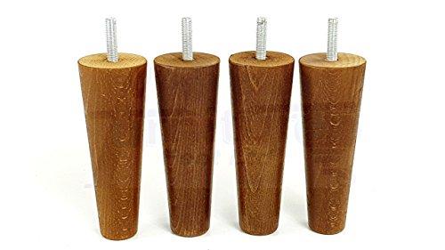 4x Füße Ersatz Möbel Beine aus Holz 150mm Höhe für Sofas, Stühle, Hocker M10(10) cwc825 dunkle eiche (Dunkle Walnuss Bücherregal)