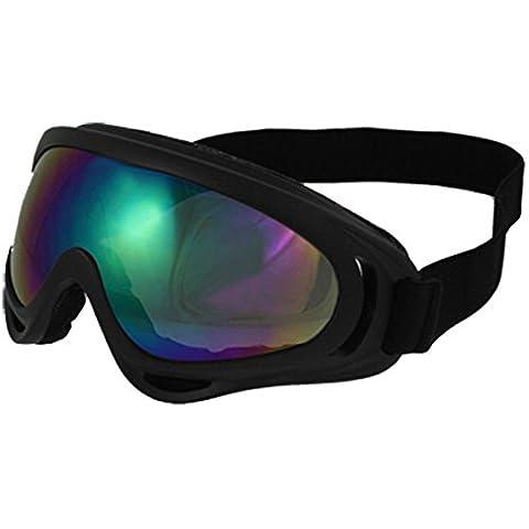Gafas de Esquí Unisex en Plástico Negro - Lente Coloreada, Protección Contra el Viento y la