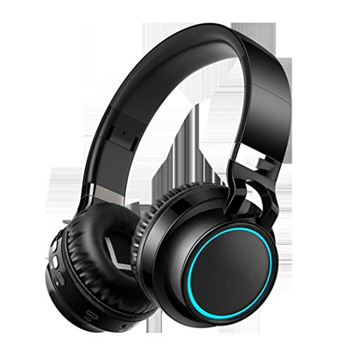 Gaming-Headset Leuchtendes Headset Bluetooth-Headset Stereo-Sport-Laufcomputer-Headset LED-Mehrfachlicht, Soft-Memory-Ohrenschützer, for Gaming (Color : Black)