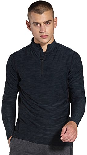 KomPrexx Longsleeve Herren Sport 1/4 Zip T-Shirt Langarm Trainingsshirt Funktionsshirt Langarmshirt Running Sweatshirt Pullover Laufshirt MC03T(Black,L)