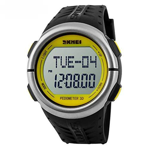 Smart Watch, wasserdichte Outdoor-Sport Schrittzähler Test Herzfrequenz Blutdruck Mode Student Herrenuhr,Yellow