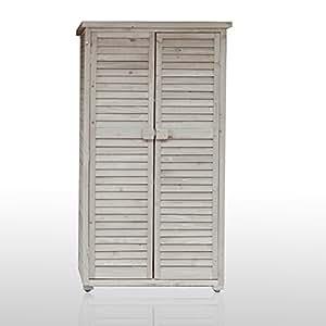 Armadio in legno da esterno 82x42x160 solido bianco jarsya for Armadio amazon