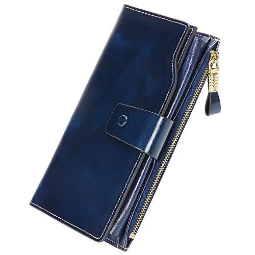 [NEUER STIL]Geldbeutel Börse Leder Geldbörse mit 20 Karten RFID Schutz Portemonnaie Große Geldtasche 19.3x9.8x2.8 cm Damen Lang Geldbörse Ledertaschen mit feiner Verpackung (Blau)