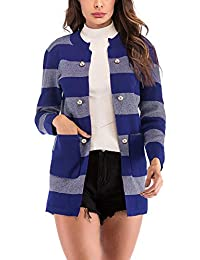 Niña Invierno fashion Abajo chaqueta,Sonnena ❤️ Cárdigan de punto de rayas casual mujer Chaqueta de manga larga con bolsillo y botones abrigo de invierno cálido
