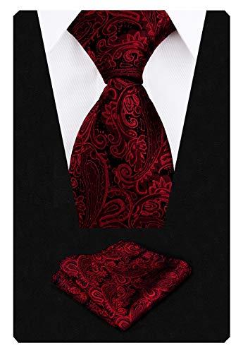 Alizeal Krawatte mit Einstecktuch, Paisleymuster, handgefertigt Gr. 150 cm Länge x 9 cm Breite, kastanienbraun