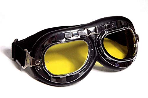 Motorradbrille schwarz, gelb-getönte Gläser, chrom Rahmen, Kunstleder