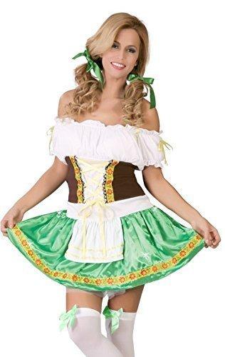Damen Sexy Grün Deutsches Oktoberfest Schwedisch Bier Mädchen Hiedi Gretal Kostüm Kleid Outfit UK 12-14