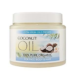 Olio di cocco vergine per capelli Olio di cocco extra vergine, puro al 100% e non raffinato, per pelle, apelli e viso Confezione da 500 grammi