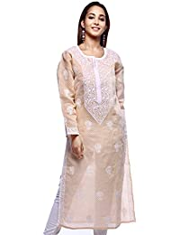 ADA Hand Embroidery Work Ethnic Chikan Fawn Cotton Kurti For Women Casual Wear A126284