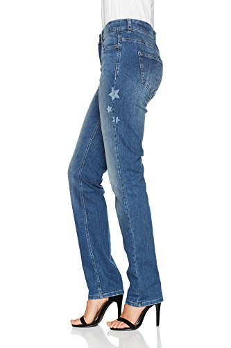 MAC Damen Straight Jeans Angela Starlight Blau (Authentic Blue Wash Star D594)