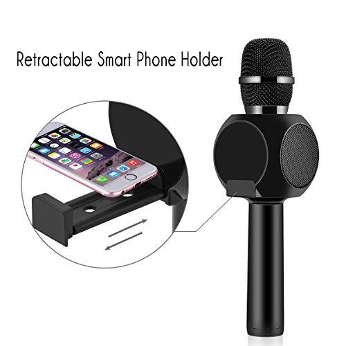 Drahtlose Bluetooth Karaoke Mikrofon Lautsprecher HURRISE Echo Rauschunterdrückung Mikrofon mit Aufnahme von Sprach für Smartphone iPad PC (Schwarz) - 2
