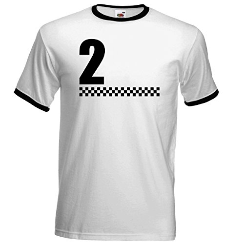 2 Tone Chequred Design Ringer T Shirt White