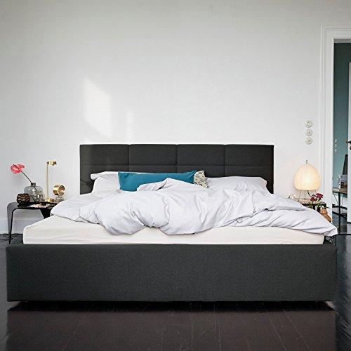 Nola Zwei Polsterbett mit Schattenfuge - 160 x 200 cm - anthrazit