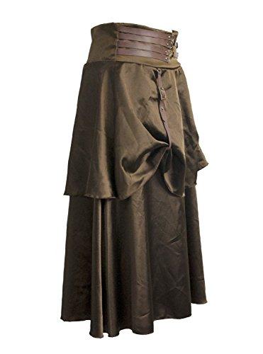 BSLINGERIE® Damen Zigeuner Hippie Steampunk Knöchellänge Rock Kleidung Röcke Braun
