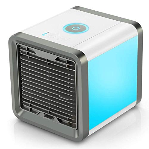 shkax Aircon Air Conditioner 3-in-1 Small Portable USB Air Cooler Fan Mobile Mini AC Unit Personal Space Air Humidifier Purifier with 3 Speeds and 7 Colors LED Light