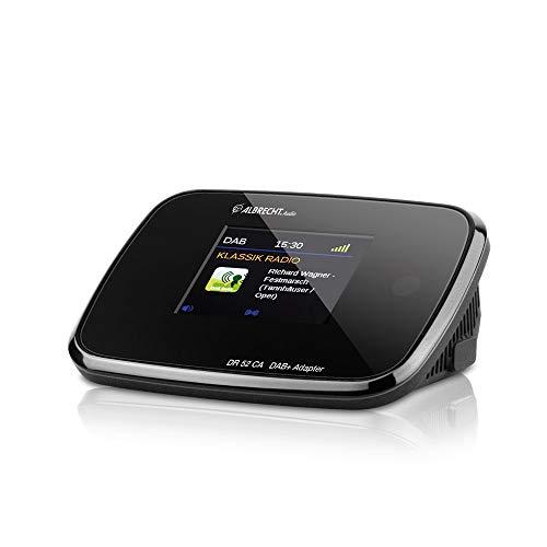 Albrecht DR52CA, 27254, Adapter zum Aufrüsten von HiFi-Anlagen und UKW-Radios zum digitalen DAB+ Empfang, mit Farbdisplay und Antenne, Farbe: Schwarz