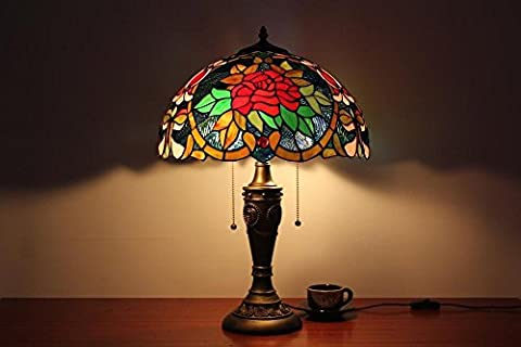 Carl Artbay Tiffany Table Lamp 16-Inch Red Rose Cafe Paragraph Decorative Lights