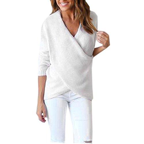 Koly_Womens Long V-Neck attraversare manica lunga allentato maglione lavorato a maglia (bianca)