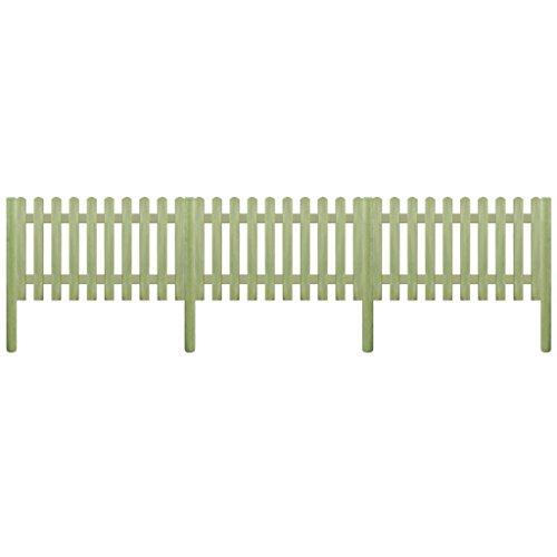 shengtaieushop Lattenzaun mit Pfosten imprägniert Pinewood 5.1M 150cm 6/9cm Garten Terrasse Zaun Panel