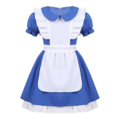 dPois Mädchen Kleid Maid Kostüm Kleid mit Schürze Kellnerin Kostüm Lolita Kleider Dienstmädchen Outfits kostüm für Halloween Cosplay Party Blau 104-110/4-5 ()