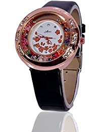 Fusine™ Amni Fashion Double Stone Studded 3D Leather Watch For Women (Round) Party Wear (Black)