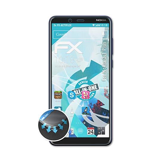 atFolix Schutzfolie passend für Nokia 3.1 Plus Folie, ultraklare & Flexible FX Bildschirmschutzfolie (3X)