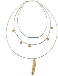 JewelryWe Collar Boho Chic para Mujer Joven, Multicapa Cadena Delicada Con Colgante de Turquesa Verde y Pluma, Retro Vintage Collar Para Verano/ Playas