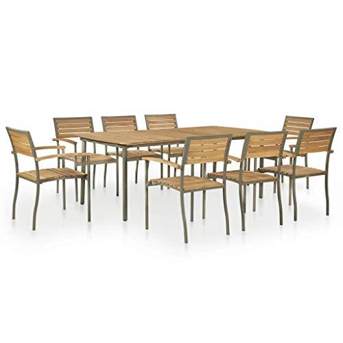 Festnight Garten Essgruppe 9-teilig | Holz Sitzgruppe 8+1 | Gartengarnitur Sitzgarnitur | Gartenset Essgruppe | Terrassenmöbel Gartenmöbel | Gartenmöbelset | Massivholz Akazienholz und Stahl