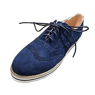 Oxford Mujer Zapatos Cordones Derby Brogue Plano Talón Calzado Vestir Casual Vintage Uniforme Trabajo Sneaker Negro Rosa Gris Azul Marrón 35-43 EU