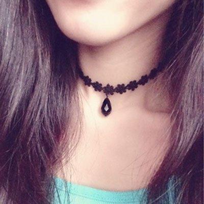 BAOZIV587 Halsband Halsband Halsband Weiblicher Pullover Kette Schlüsselbein Kette Halskette, D Blume Knospe Schwarz Perlen