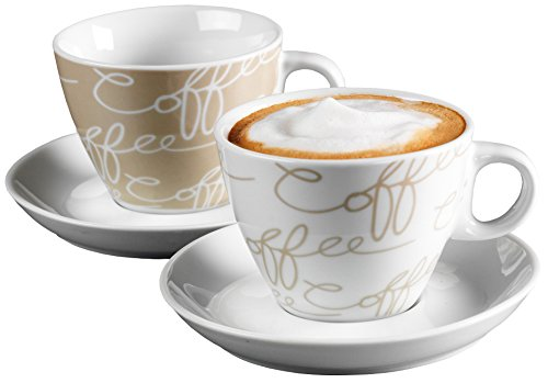 Ritzenhoff & Breker Cappuccino-Set Cornello Creme, 4-teilig (1 2 Tasse Glas)