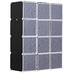 HOMCOM Armario Modular Plástico Estantería 12 Cubos con Puertas para Almacenamiento de Ropa Armario Ropero Organizador para Almacenamiento Juguetes y Libros Montaje en Bricolaje 111x47x145cm