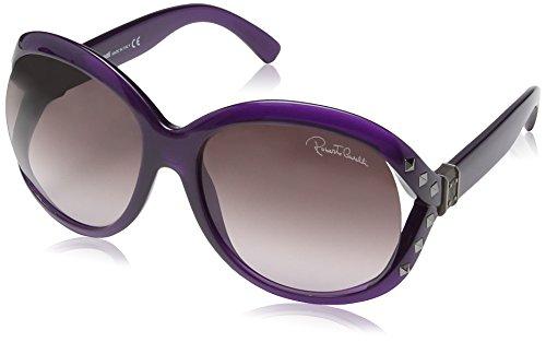 Roberto Cavalli Damen RC598S Wayfarer Sonnenbrille, Transparent Violet & Ruthium Frame / Dark Violet radient