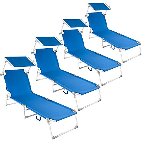 Tectake 800252 - set 4x lettini prendisole in alluminio, sedia sdraio da esterno, con tetto pieghevole - disponibile in diversi colori (4x blu | no. 401554)