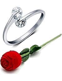 karatcart Silver Platinum Plated Elegant Austrian Crystal Adjustable Ring for Women