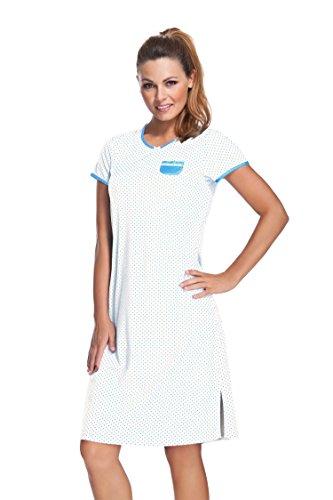 e.FEMME® Damen Nachthemd mit Kurzarm Marion 306, 50% Baumwolle + 50% Modal, in Farben: blau, ecru, verschiedene Größen Ecru