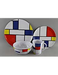 Melamine Set De Stijl - 16pc 100% Melamine Dinner Set For Caravan Camping by camping-online
