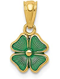 14k Yellow Gold Green Enameled Four Leaf Clover Pendant Charm Necklace Good Luck Italian Horn Fine Jewelry For Women Gift Set