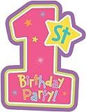 Amscan 8 EINLADUNGSKARTEN 1.Geburtstag Birthday GIRL PARTY