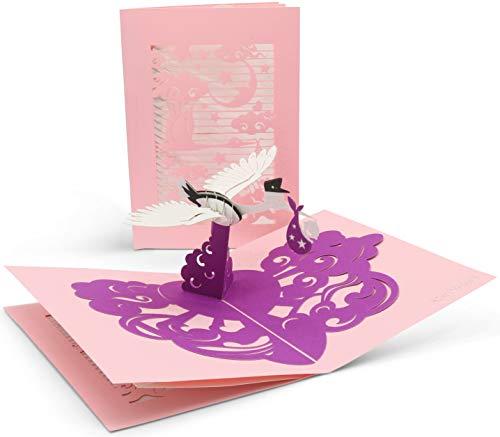 Glückwunschkarte zur Geburt mit extra Seite für Grüße - hochwertige Karte für Mädchen - lila 3D Pop-Up Geburtskarte für das Baby zur Gratulation