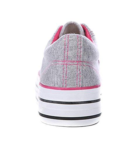 Aisun Damen Klassisch Canvas Sneaker Schnürsenkel Flat Sportlich Halbschuhe Grau