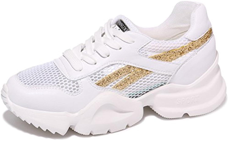 GTVERNH Damenschuhe/Goldene Sneakers Sommer Turnschuhe Tennis - Sohlen Schuhe Schuhe