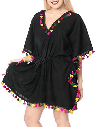 LA LEELA Costumi di Halloween Festa Cosplay Pirata Gotico Festival Fancy Dress Vintage Completini Kimono Camicetta spiaggiù Costume da Bagno Bikini Indossare Copertura Pom Pom Fino a più Nero_B559