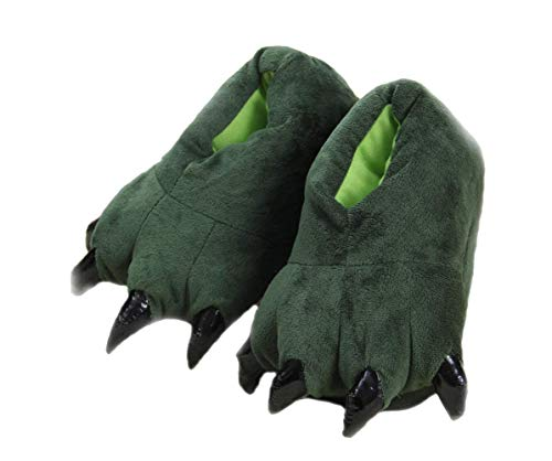Cartoon animal claw shoes home warm shoes neutral soft plush home slippers claw shoes (small size (child size 27-33), green)