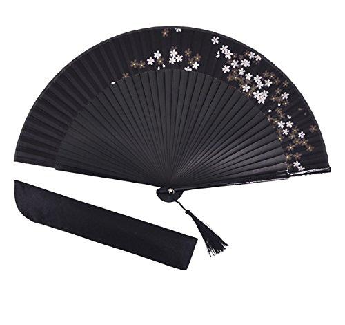 Amajiji Bambus Holz Seide Faltbar Fan, Japanisches/Chinesisches Vintage Retro Stil Handgefertigte Seide Schwarz Hand Fan mit Ein Gewebe Ärmel und Quasten Schwarz