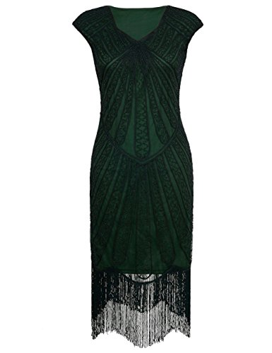 PrettyGuide Damen 1920er CocktailKleid Perlen Art Deco Flapper Charleston Kleid XL Grün