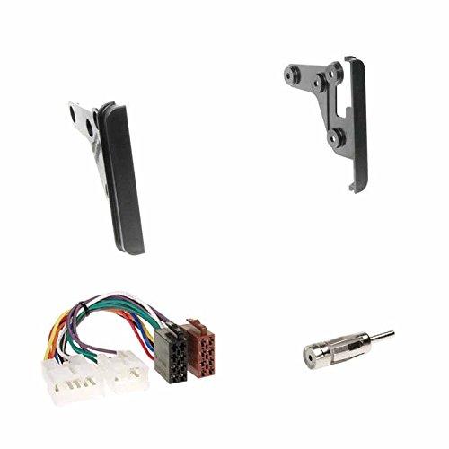 Einbauset : Autoradio Doppel-DIN 2-DIN 2 DIN Blende Einbaurahmen Radioblende schwarz + ISO Radio KFZ Adapter Radioanschlusskabel + Antennenadapter für Toyota Celica (T23) 11/1999->07/2005 / Toyota MR2 (ZZW30) 2000->2005 / Toyota RAV4 (ACA / ZCA) 2000->2006